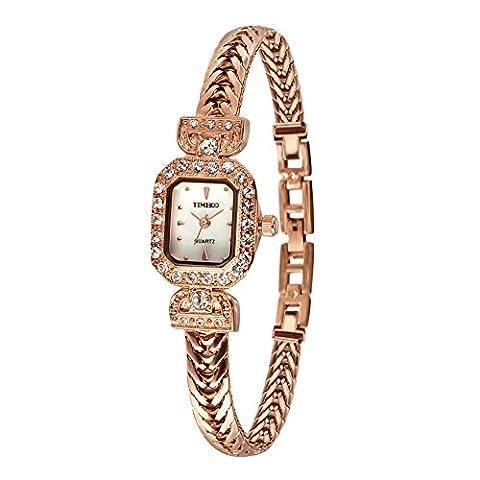 Time100 Armbanduhr Damenuhr Quarzuhr Mädchenuhr Edelstahl Rosagold (Rettangolare Bracciali)