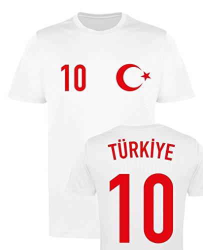WM EM Trikot - Türkiye 10 - Herren T-Shirt - Weiss/Rot Gr. L (Türkei 10)