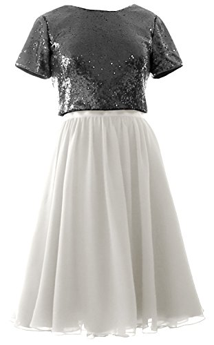 MACloth Cap Sleeves Two Piece Short Bridesmaid Dress Sequin Chiffon Formal Gown Black-White