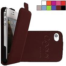 COOVY® COVER CASE CUBIERTA DELGADO FUNDA PROTECTORA CON TAPA PARA APPLE iPhone 4/4s con lámina projoectora de pantalla color marrón
