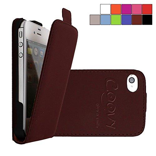COOVY® Cover für Apple iPhone 4 / 4s Slim Flip Case Tasche Etui inklusive gratis Displayschutzfolie | Farbe braun