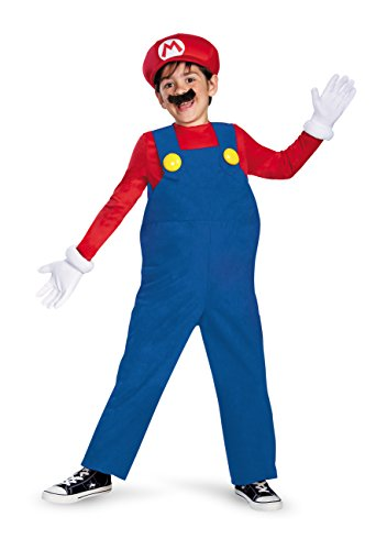 Mario Kinder Kostüm Deluxe M (7-8 J.), blau/rot, 127-136cm ()