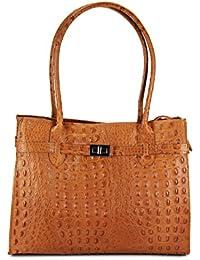 eb7b80a8d324d BELLI klassische ital. Leder Handtasche Schultertasche cognac Kroko Prägung  - 35x27x15 cm (B x
