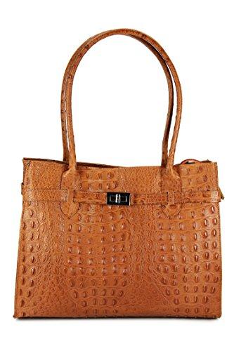 Kroko Leder (BELLI Damen Ledertasche edle Schultertasche Handtasche aus echtem Leder - 35x27x15 cm (B x H x T) (Cognac matt Kroko))