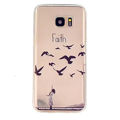 TKSHOP Etui en Silicone pour Samsung Galaxy S5 Housse Ultra Mince Soft Souple Gel Cristal Case Cover Anti-rayures Coquille Couvrir-Les oiseaux volent au sud