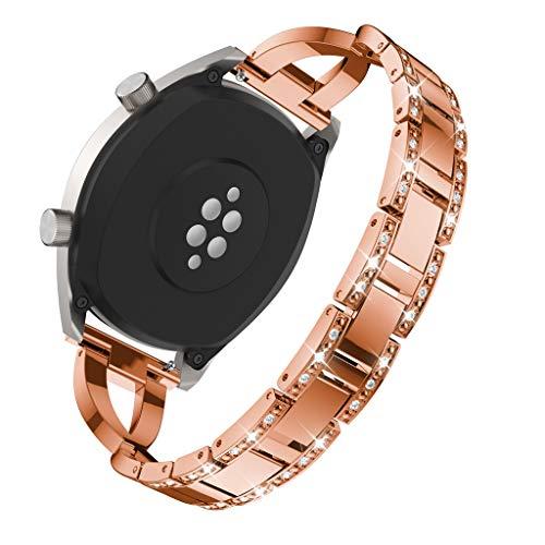 WAOTIER für Huawei Watch GT Armband Edelstahl Kristaller Armband mit Diamant Deko Armband und Metall Verschluss für Huawei Watch GT Classic Eleganter Armband für Frauen Glitzer Armband (Roségold)