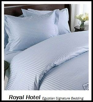 Royal Hotel s Gestreift Blau 600-thread-count 3California-King Knopfverschluß, Bettbezug 100Prozent Baumwolle, Satin Gestreift (Bettbezug-set California King)