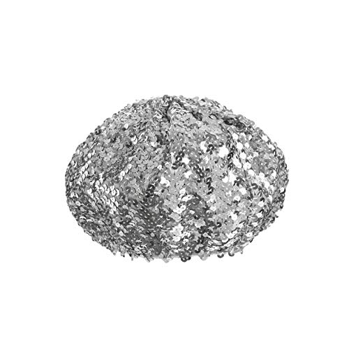 Boina Francesa de Bing Bing para Fiestas de Disfraces - Sombrero Temático - Mujer Lady Girl Stretch Metallic Shining Beanie Cap Lentejuelas Beret Hat (Plata)