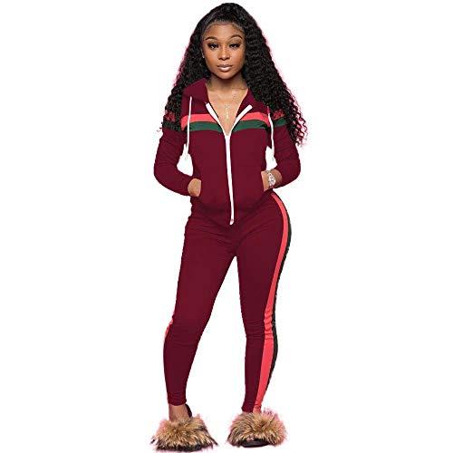 HUIMEIDA Damen Trainingsanzug Sportanzug Jogginganzug 2-teilig Reißverschluss Zipper Top Kapuzenpullover und Lange Hose Fitness Casual Jogging-Anzug Trainings-Jacke (S, Weinrot)