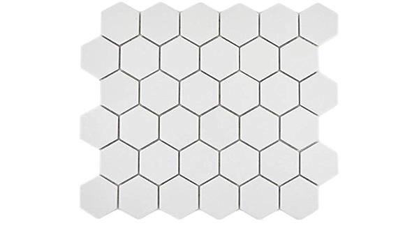 Mosaikfliese Keramik Hexagon Sechseck klinkerrot rutschsicher Badewannenverkleidung Mosaikwand Badfliese K/üchenfliese Fliesenspiegel WC