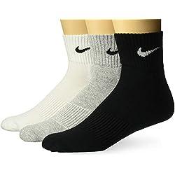 Nike 3PPK Cushion Quarter, Unisex Socks, Pack of 3 Units, Gray / Black / White, M (38-42)