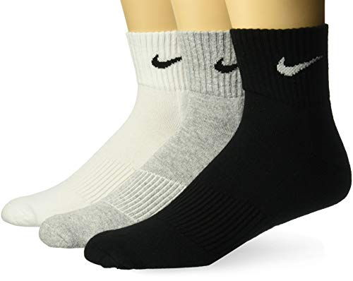 Nike Herren Strümpfe Cushion Quarter, 3er Pack - Grau (Graue Heather / Schwarz / Weiß), 42-46 EU (Socks Elite Pack Nike)
