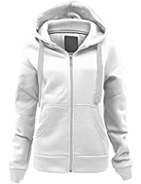 6ba7ee38cb40e4 Ladies Plain Zip Up Hoodie Womens Fleece Hooded Top Long Sleeves Front  Pockets Soft Stretchable Comfortable Plus Sizes Small to…