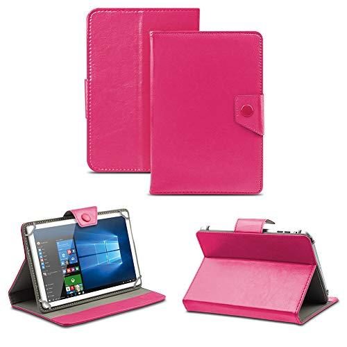 NAUC Universal Tasche Schutz Hülle Tablet Schutzhülle Tab Case Cover Bag Etui 10 Zoll, Tablet Modell für:ODYS Neo Quad 10, Farben:Pink mit Magnetverschluss