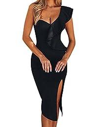c59e0aed6050 Fodero per Donna Ruffles Abito al Ginocchio Abiti da Cerimonia Abiti  Eleganti Spalle Scoperte Vestito Balze