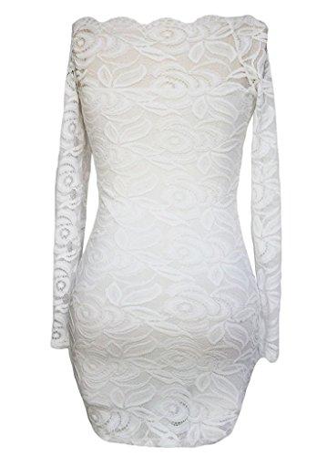 La Vogue Robe Courte Dentelle Épaule Dos Nu Manche Longue Crayon Moulant Blanc