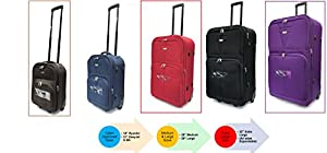 "Lightweight Expandable Durable Hold Luggage Suitcase Travel Trolley Case Travel Bag 2 Wheels in Extra Large(32""), Large(29""), Medium(26""), Cabin Approved EasyJet & Ryanair sizes (21"" & 18"")"