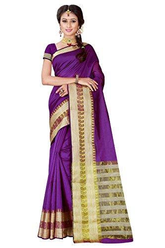 Viva n Diva Sarees for Women's Purple Banarasi Art Silk Saree With Unstitched Blouse Piece