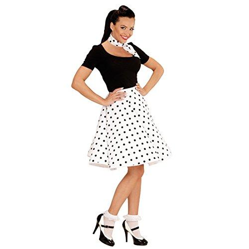 Halstuch weiß 50er Jahre Damenrock Rock n Roll Sixties 60er Jahre Petticoat Tellerrock mit Schal Pünktchen Damen Kostüm Accessoire (60's Rock And Roll Kostüme)