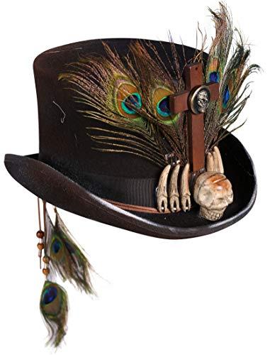 T2434 schwarz Damen Herren Voodoo Hut-Zylinder mit Knochen und Federn