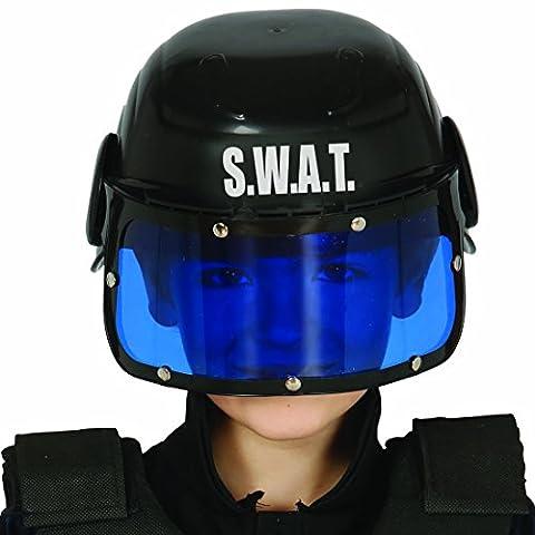 Casque enfant S.W.A.T. Casque de policier enfants équipement d'intervention forces spéciales casque de protection unité spéciale coiffure de combat police accessoire déguisement policier