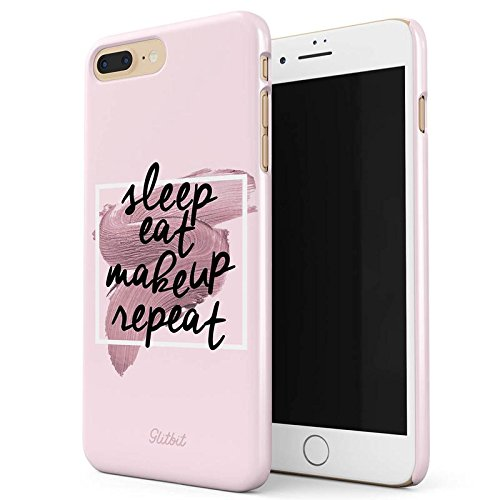 Glitbit Sleep Eat Makeup Repeat MUA Goals Addict Make Up Love Glam Glow Fab Slay Quote Dünn Robuste Rückschale aus Kunststoff Für iPhone 7 Plus / 8 Plus Schutzhülle Schutz Hülle Case Cover Iphone Case Make-up