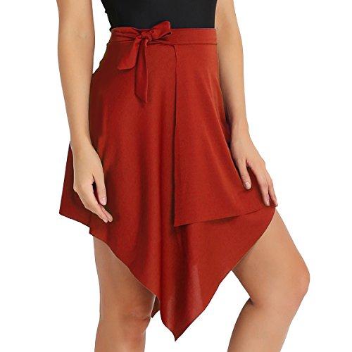 (iixpin Damen Ballett Rock mit Elastischem Bund Luftiges Ballettröckchen Asymmetrische Tanz-Kostüm Latin Dancewear Minirock Tanzrock Rot One Size)