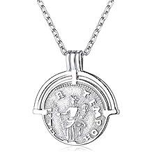 ChicSilver Moneda Memorial Plata de Ley 925 Chapado en Platino y Oro 18K Collar para Hombres