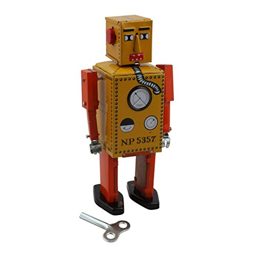 Superfreak® Blechroboter°Blechspielzeug°Roboter aus Blech°Größe M Robot Lilliput – gelb/orange