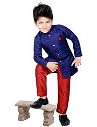 f36e9d231 Boys Sherwani Suit With Pyjama And Pant Dress Indian Wedding Party Wear  Toddler Infant Ethnic Bollywood Traditional Kurta Pajama (SC…