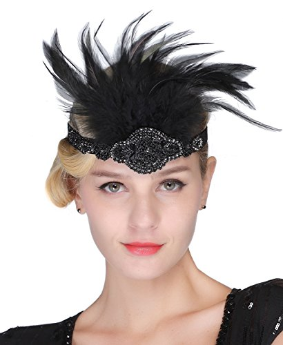 FAIRY COUPLE Vintage Weiß Feder Silber Perlen Kopfschmuck 1920er Jahre Flapper Stirnband ()