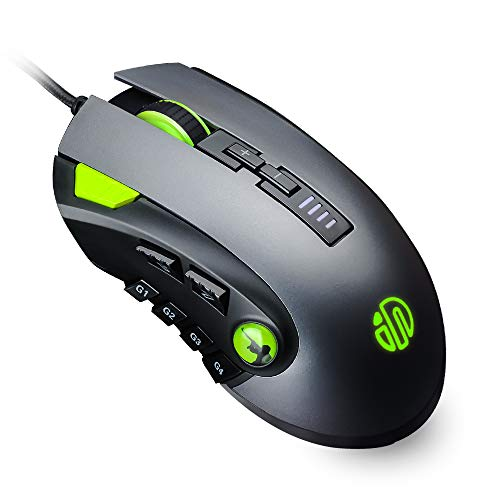 inphic Ratón Gaming, Ratón Gamer (12 Botones programables, 10,000 dpi) Ratón de Juego óptico ergonómicos MMO Computadora portátil Mouse Gaming, 10 Modos RGB, 6 palancas dpi Ajustable, Gris