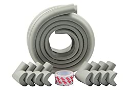 Winthome Baby Safety Protectors &Furniture Edge and corner Bumpers Thick Anti-Collision Cushion Set 4M Edge and 8 TAPED Corner Guards (Grey)