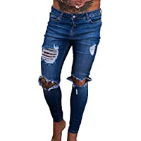 Mens Denim New Fashion Ripped Distressed Super Stretch Skinny Jeans apeados  Casual Slim Fit Pantalones de a632e474bce6