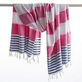 ANATURES Marina Pink/Denim Blue - hamamtuch - Oeko-TEX Standard 100 Certificat - Prewashed -Hamamtuch - Badetuch - Handtuch - Strandtuch - Sauna handtücher - Turkish Towel Fouta