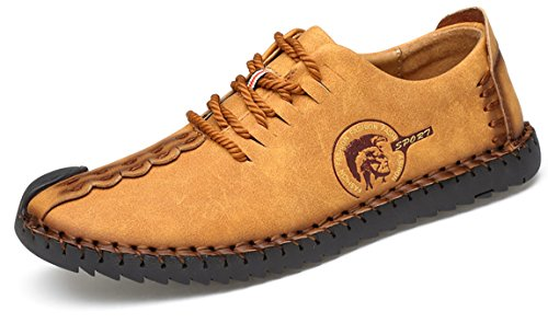 Phefee Lederschuhe, Gracosy Herren Damen Derby Mokassins Oxford Schnürhalbschuhe Low-Top Casual Schuhe aus Veloursleder Herbst Handmade Classic?Gelb 45) (Leather Retro Classic Schuhe Herren)