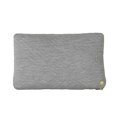 Quilt Cushion - Light Grey - 40 x 25