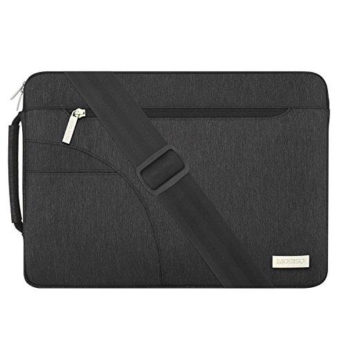 MOSISO Laptop Schultertasche Kompatibel mit 15 Zoll MacBook Pro mit Touch Bar A1990 A1707 2016-2019, 14 Zoll ThinkPad Tablet, Polyester Flapover Bote Aktentasche Sleeve Hülle Tasche, Schwarz