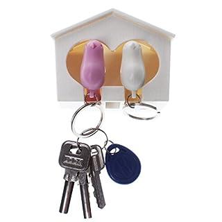 A-szcxtop Dual Sparrow Bird White House Schlüssel Ring Kette Wand Arts Schlüssel Haken Halterungen Twin Whistle, Weiß/Rosa