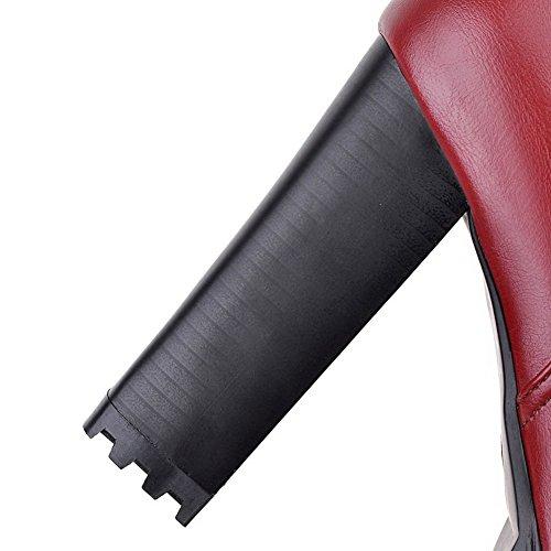 VogueZone009 Donna Piattaforma Bassa Altezza Puro Cerniera Stivali con Metallo Rosso