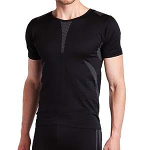Sport Funktionswäsche Herren Kurzarm Hemd Seamless von celodoro schwarz/grau Größe: S / M