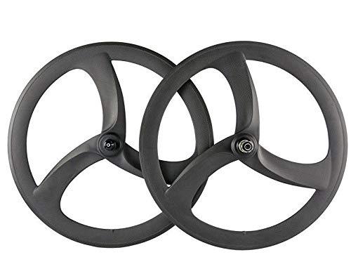 FidgetGear 700C 50 mm Carbon Bike Tri Speichen Radsatz Fahrrad 3 Speichen Räder (Speichen-rad-700c 3)