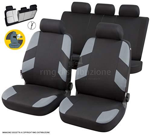 RMG R01BV112 coprisedili compatibili per Jazz Fodere Auto R01 Neri Grigi per sedili con airbag braciolo e sedili sdoppiabili