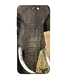 FUSON Designer Back Case Cover for HTC One A9 (Close Up Portrait Of A Baby Elephant Long Ears Strips Forest)