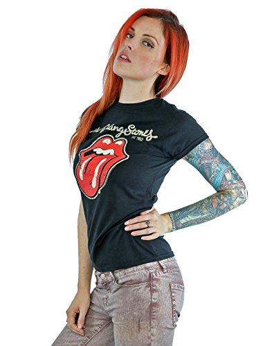 Rolling Stones Damen T-Shirt Plastered Tongue Schwarz