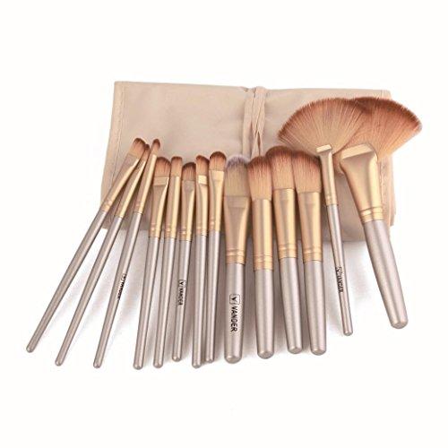 BZLine® Ensemble de Pinceau de Maquillage 32 Pcs + étui, pinceaux de Beauté Cosmetic Tools-Beginners, Pinceau de Contour des Yeux, Pinceau en Poudre (Or)