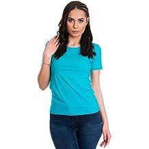 Evoni Kurzarmshirt mit Rundhals-Ausschnitt   Einfarbiges Damen T-Shirt in Vielen  Farben   0c2e15d421