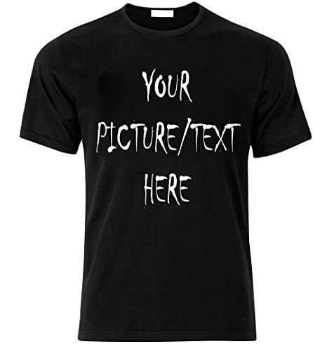 Ihr Wunsch Bild/Text T-Shirt selbst gestalten individuell Druck personalisiert Herren T Shirt Geschenk Überraschung Geburtstag Junggesellenabschied Team Party Geschäftst Weihnachts (L, SCHWARZ) -
