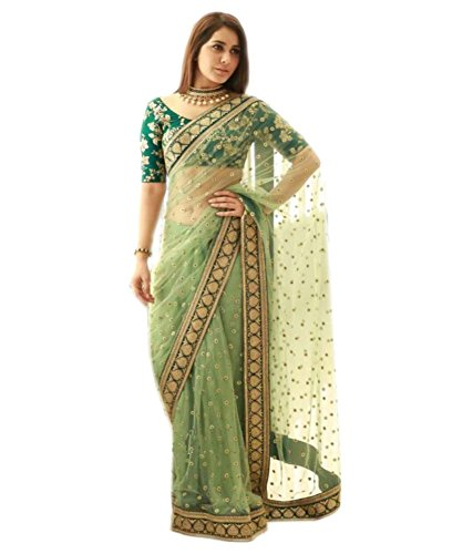 Bigben Women\'s Green Embroidery Net Designer Saree With Blouses