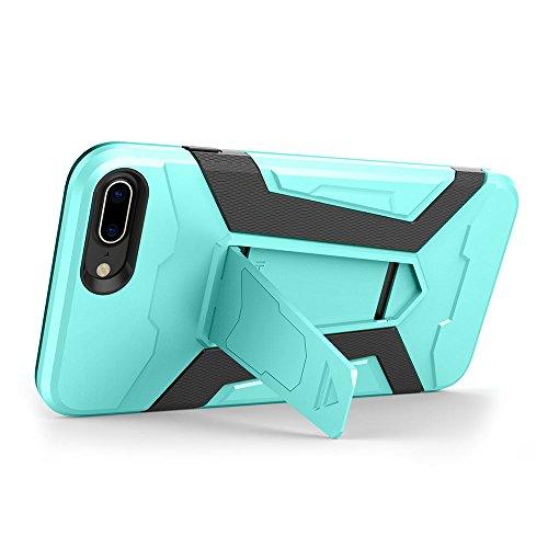 Cover iPhone 7 plus Custodia iPhone 7 plus Hard Anfire Belt Clip Holster Kickstand Case Cover per iPhone 7 plus (5.5 Pollici) Ultra Sottile Liscio Opaco Antiurto Protettivo Bumper Paraurti Rugged Adat Verde
